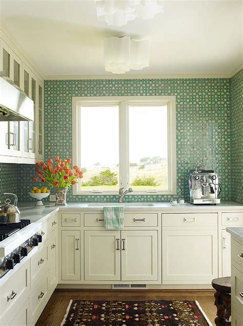 green and white kitchen cabinets white kitchen with green tiles design ideas 368 | white kitchen green mosaic backsplash tiles brown rug