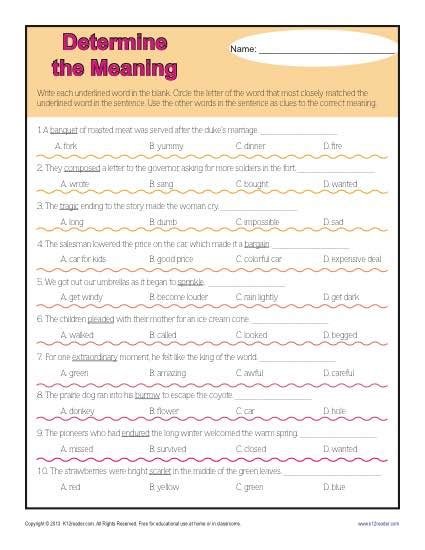 determine the meaning context clues worksheets for 4th grade