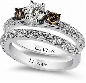 le vian bridal white certified diamond and chocolate With chocolate wedding ring sets