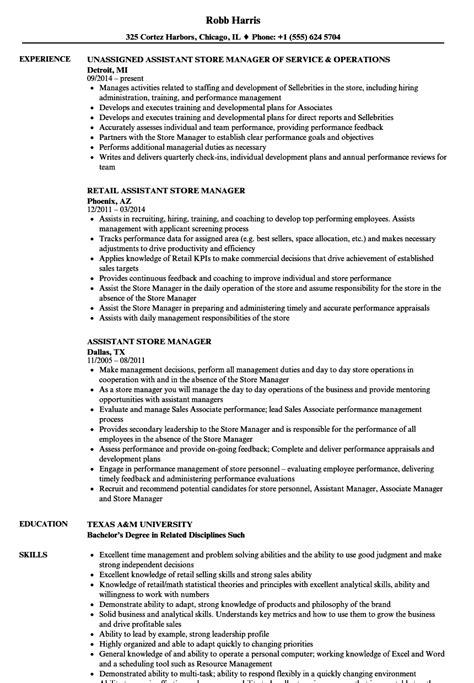 Assistant Retail Store Manager Resume by Assistant Store Manager Resume Sles Velvet