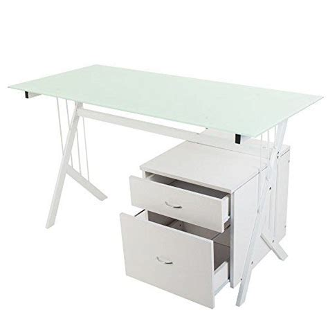 glass writing desk with drawers 2016 big sale merax stylish design home and office