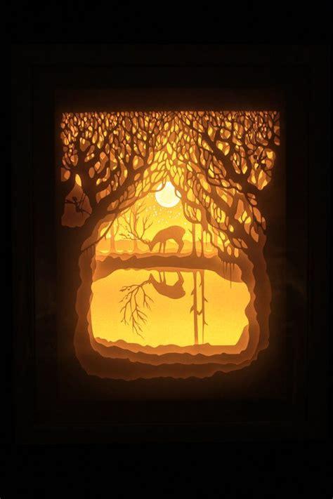 silhouette paper cut light box night light accent
