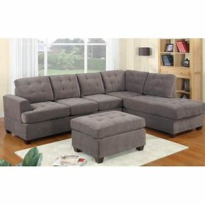 2 piece modern reversible grey tufted microfiber sectional for Sectional sofas at walmart