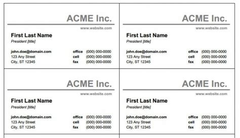 Business Card Template For Microsoft Word