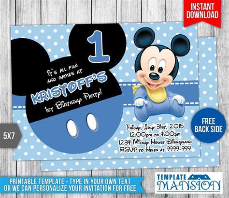 baby mickey mouse birthday invitation  templatemansion
