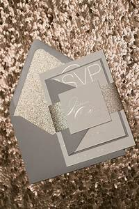 Modern grey and rose gold foil wedding invitations with for Wedding invitations grey and rose gold