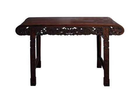 chinese brown huali rosewood scroll dragons altar table