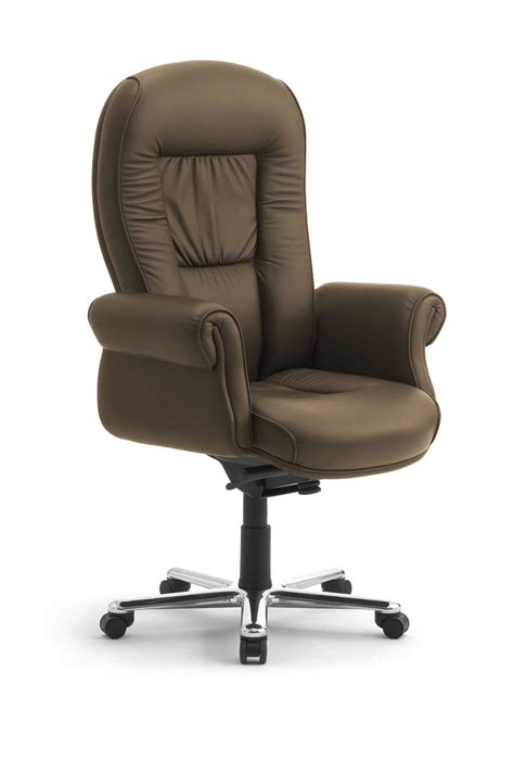 executive office armchair upholstered in leather idfdesign