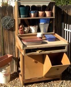 diy potting bench garden work bench out in my garden