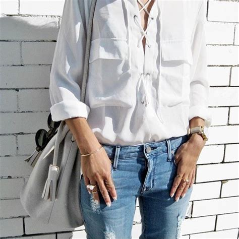 Blouse tumblr tumblr outfit cute outfits aesthetic white shirt lace up top shirt lace up ...