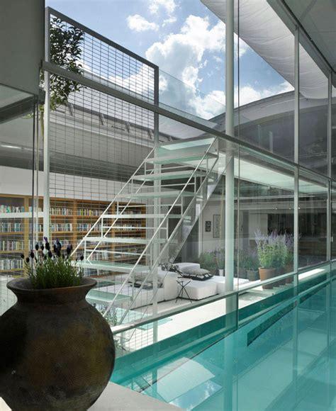spectacular residence  indoor glass pool interiorzine