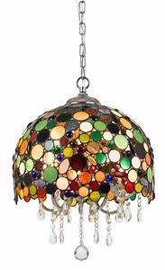 Tiffany stained glass crystals pendant light fixture