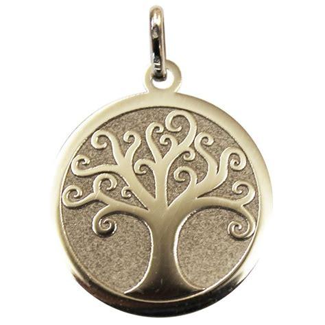 m 233 daille arbre de vie polie satin 233 e en or gris une id 233 e