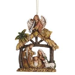 angel and holy family religious nativity christmas ornament christmas and city