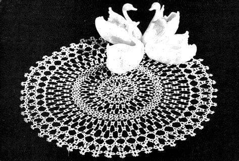 vintage tatting pattern swan  lace doily