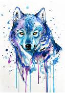 ice by pixiecold traditional art paintings surreal 2013 2015 pixiecold      Colorful Wolf Painting