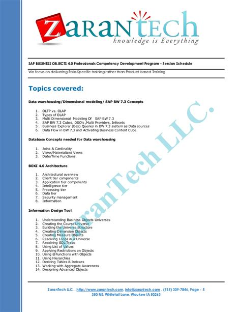 Sap Business Objects 4 0 Resume by Sap Business Objects Bo Bi 4 0 Program Zarantech