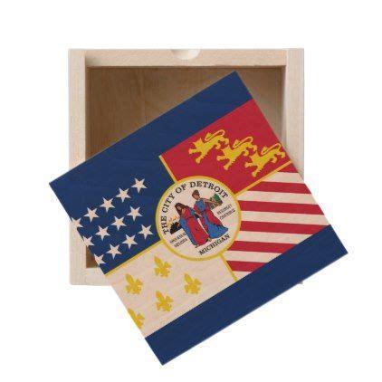 flag  detroit michigan wooden keepsake box