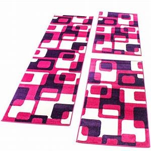 Teppich Bettumrandung 3 Teilig : bettumrandung l ufer teppich retro design in pink lila l uferset 3 tlg teppiche bettumrandungen ~ Bigdaddyawards.com Haus und Dekorationen