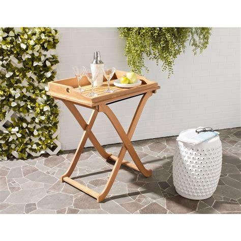 safavieh covina teak brown patio tray table pat6716a the