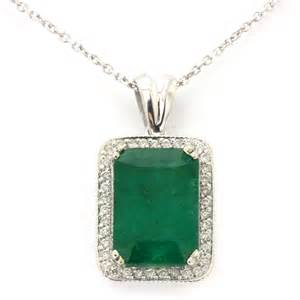 white gold wedding bands womens 4 30ctw emerald cut emerald pendant diamonds with gallery pn594