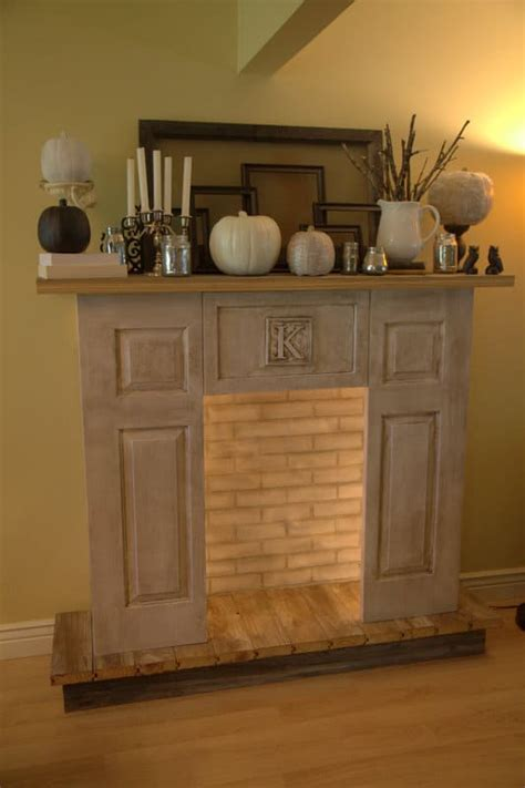 stunning  alike  diy faux fireplaces