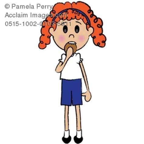 clip art illustration    red haired girl eating