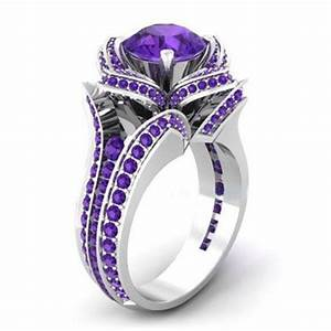 purple zircon filled engagement wedding flower gemstone With purple wedding ring