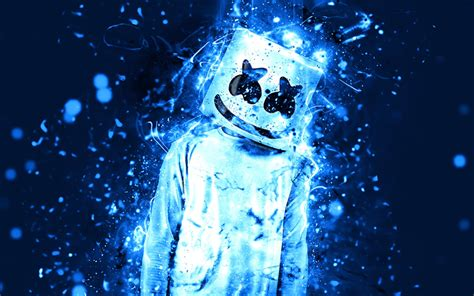 4k Resolution Neon Marshmello Wallpaper 3d wallpapers marshmello 4k blue neon american dj
