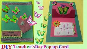 Teachers day pop up cards Making idea for kids|butterfly ...