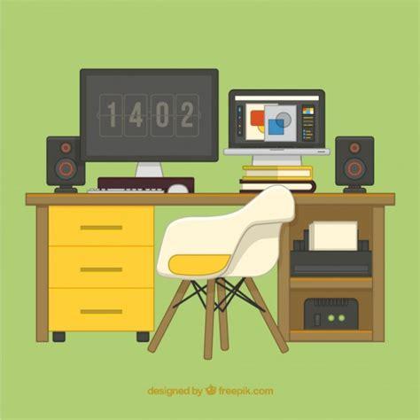 telecharger bureau plat graphique deisgner bureau illustration télécharger des vecteurs gratuitement