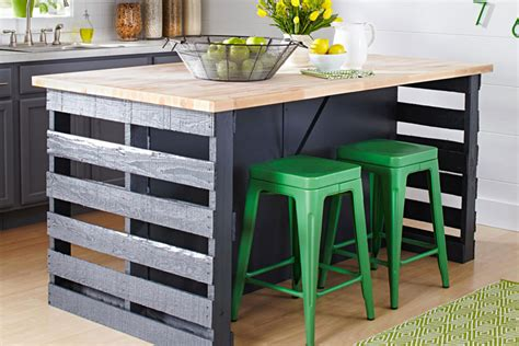 kitchen island made out of pallets how to build a pallet island bench better homes and gardens 9414
