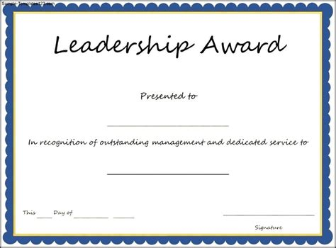 Tke Award Certifricate Template by Interesting Leadership Award Template With Blue Frame