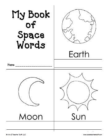my book of space words printable book free printable 458 | 61d7b24a284e58079673d632f63ebc50 space activities preschool solar system kindergarten moon activities