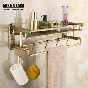 bathroom antique brass bathroom shelf with green stone With shelf with hooks for bathroom
