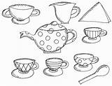 Tea Coloring Party Pages Printable Alice Wonderland Boston Teapot Drawing Birthday Clipart Books Preschool Sheet Adults Teacups Trend Princess Popular sketch template