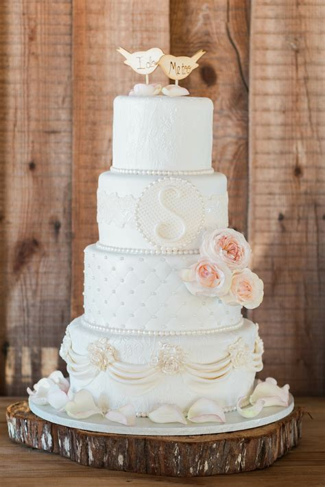 intricate textured  tier wedding cake