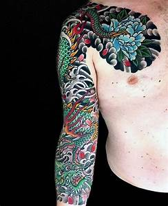 30 Dragon Half Sleeve Tattoos For Men - Fire-Spewing ...