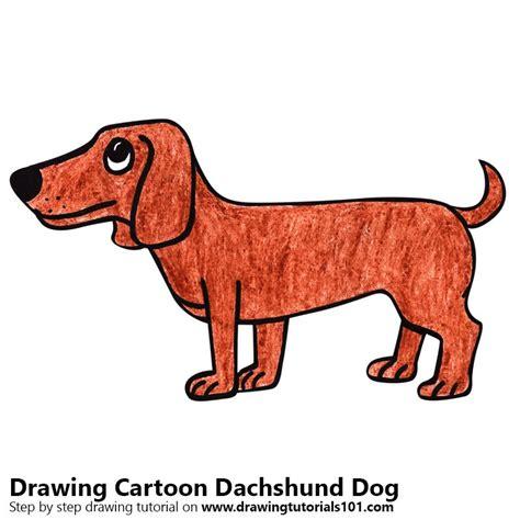 learn   draw  cartoon dachshund dog cartoon animals