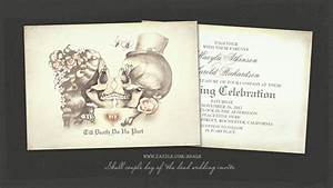 Read more skull couple gothic day of the dead wedding for Free printable skull wedding invitations