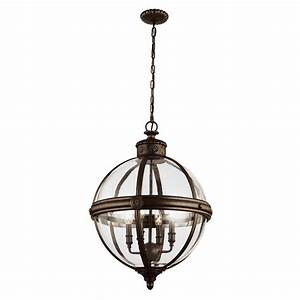 Adams light pendant in a bronze finish with clear