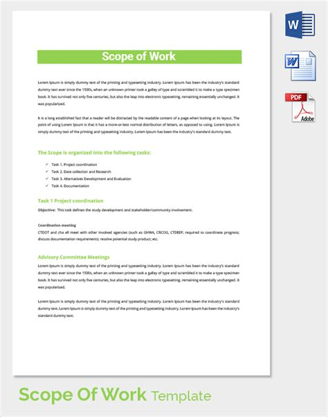 scope of work template 23 sle scope of work templates to sle templates