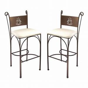 chaise haute en fer forge hauteur 110 cm set de 2 pieces With deco cuisine avec chaise fer forgà