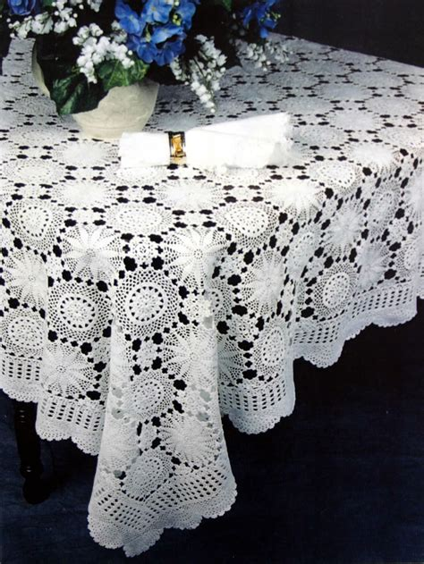 Snowflake Handmade Crochet Lace Tablecloth  Also In Oval
