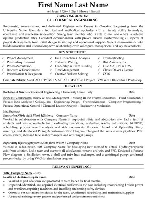 chemical engineer resume sle template
