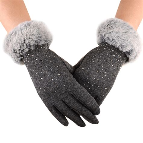 womens fashion winter outdoor sport warm fur crystal thick