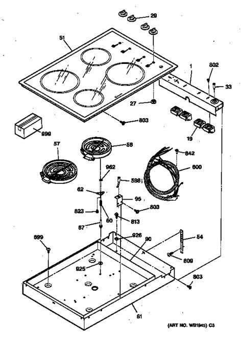 ge cooktop parts ge electric cooktop parts model jp340ww1ww sears