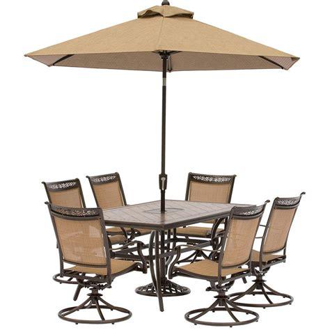 7 patio dining set with umbrella hanover fontana 7 aluminum rectangular outdoor