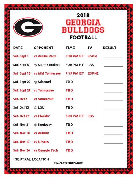 printable georgia bulldogs football schedule