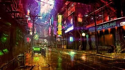 Cyberpunk Futuristic Neon Concept Night Cyber Rain
